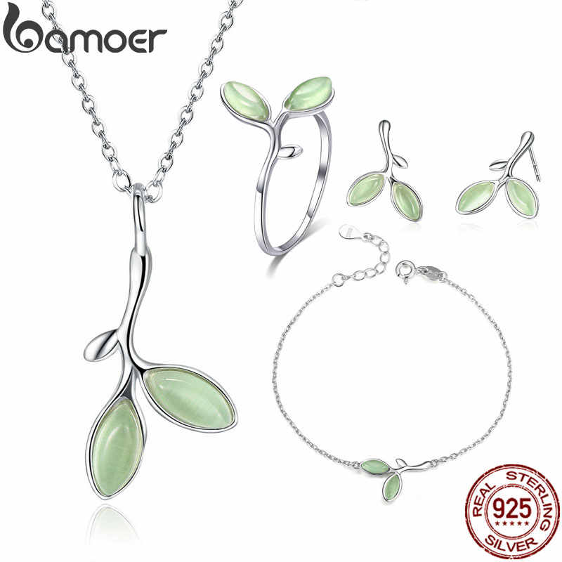 BAMOER Genuine 925 Sterling Silver Tree Leaves Buds Green Enamel Jewelry Sets for Women Sterling Silver Jewelry ZHS070