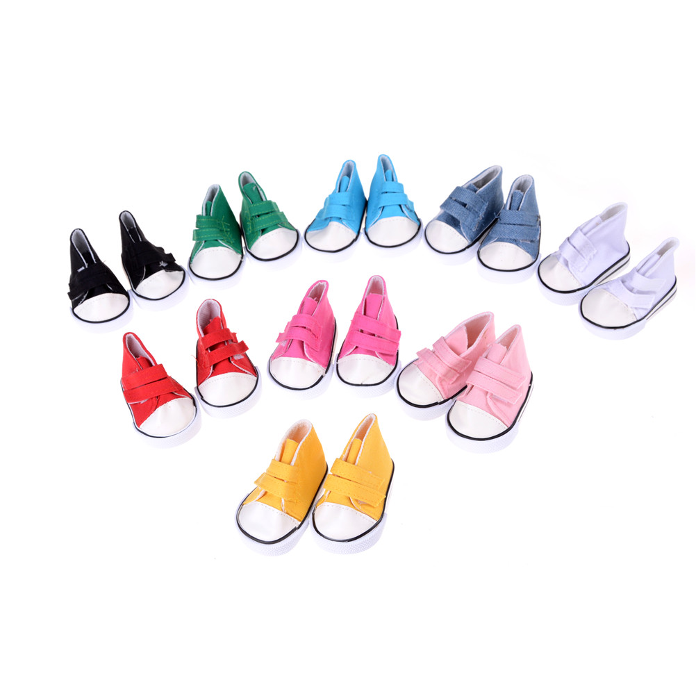 MYPANDA Cute Doll Shoes For 18 Inch Baby Born Doll Handmade Sneakers American Girl Accessories Denim Canvas Mini Toy Shoes baby born doll accessories kayak adventure set 18 inch american girl doll accessories let s go on an outdoor kayak adventure
