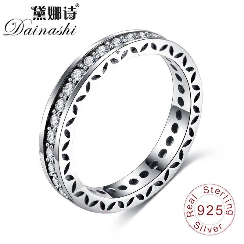 Dainashi 925 Silver Shiny Zircon Rings 2019 Simple Hollow Design Girl Party Wedding Elegant Jewelry Rings For Women Fashion Gift