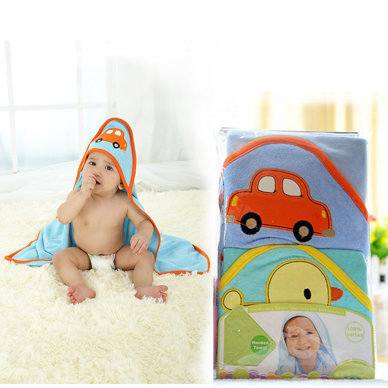 2 PCS/Pack Fashion Baby Hooded Towel Karters Boy Girl Bath Blankets 75x75CM