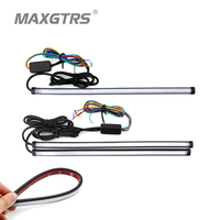 Car Flexible Waterproof LED Daytime Running Light Strip Light Headlight Sequential Flasher DRL Flowing Amber Turn