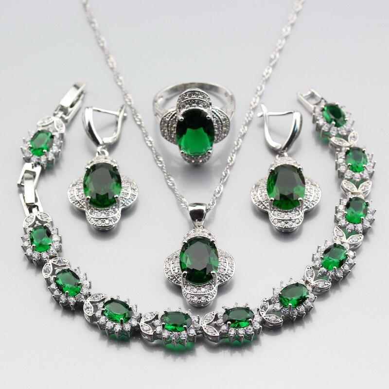 Wonderful 4PCS Earrings Ring Pendant Bracelet Length 20CM Necklace Green Zircon Women Jewelry Sets 925 Silver Color W354