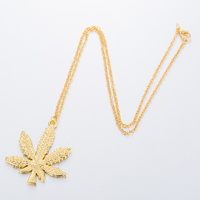 Hfarich Maple Leaf necklaces & pendants Gold Silver Color boho Cannabiss Weed Herb Charm Necklace Hip Hop Tropical Leaf Jewelry  4