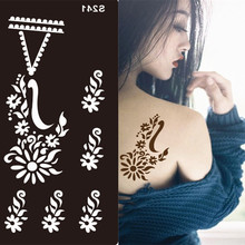 Fashion Disposable Design Stencils For Body Painting Glitter Temporary Tattoo Hand Henna Mehndi Stencil Body Art Tattoos