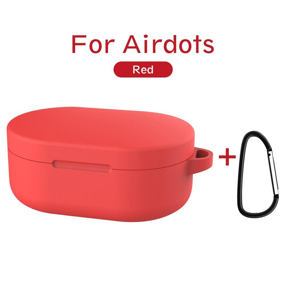 Силиконовый чехол с пряжкой для Red mi AirDots Air dots, чехол, беспроводной Bluetooth чехол s, мягкий ТПУ чехол - Цвет: Красный