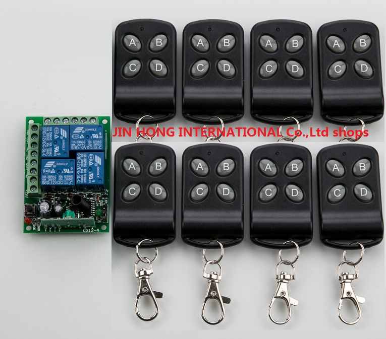 NEW DC12V 4 CH RF Wireless Remote Control System / Radio Switch Transmitter/Receiver Momentary Toggle Latched & 8 x Transmitter new dc12v 4 relay ch momentary toggle latched rf remote control switch system wireless receiver