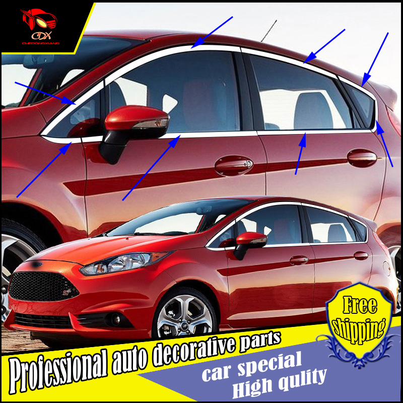 Car styling stainless Steel Window Trim stickers For Ford Fiesta 2009-2013 Windows Frame Sequin trim decorate Accessories stainless steel car full window frame pillar trim decoration for ford ecosport 2013 2014 2015 car styling accessories 18 pcs
