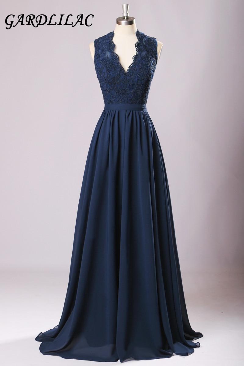 Nuovi abiti lunghi da damigella d'onore 2017 Navy Blue Plus Size Chiffon Wedding Party Gown off-spalla Maid of Honor Abito da ballo lungo
