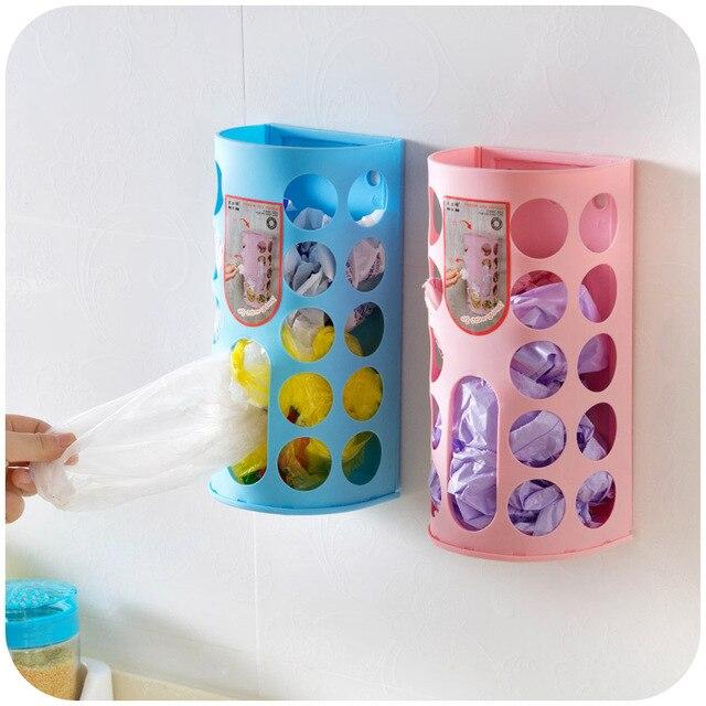 2pcs Household Garbage Bags Storage Box Plastic Bag Holder Organizer Wall Mounted Hanging Basket Home