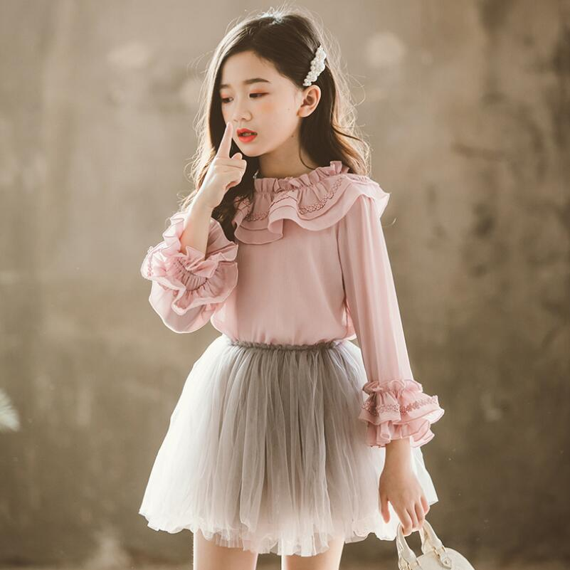 2019 Spring Autumn Chiffon Lace Baby Toddler Girls Blouse White Clothes Children Long Sleeve School Girl Shirt Kids Tops JW4497A