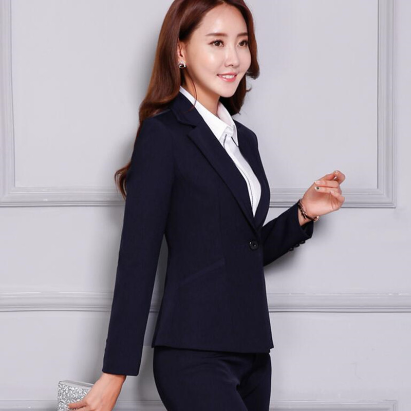 d6a45350bcf Professional women pants suit fashion business formal slim long sleeve  blazer with trousers office ladies plus ...