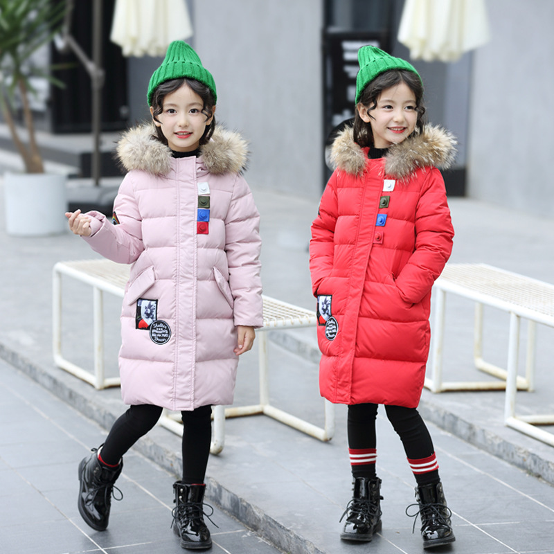 2018 New Girls Winter Jacket Coat Cotton Thicken Warm Hooded Fur Collar Cardigans Outerwear for Girls Christmas Princess Jacket tnlnzhyn women s clothing new new winter big yards women jacket coat hooded fur collar cotton thicken long female outerwear wu03