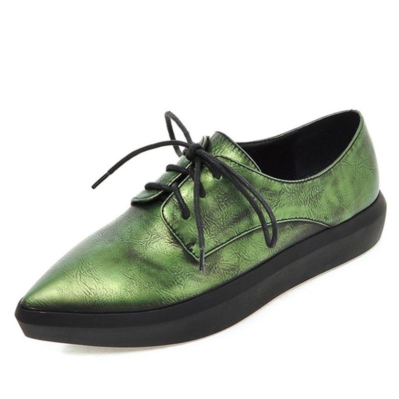 Women Shoes Four Seasons 2016 top quality wholesale Women artificial Leather Shoes Women Flats girls work flats big size 33-43