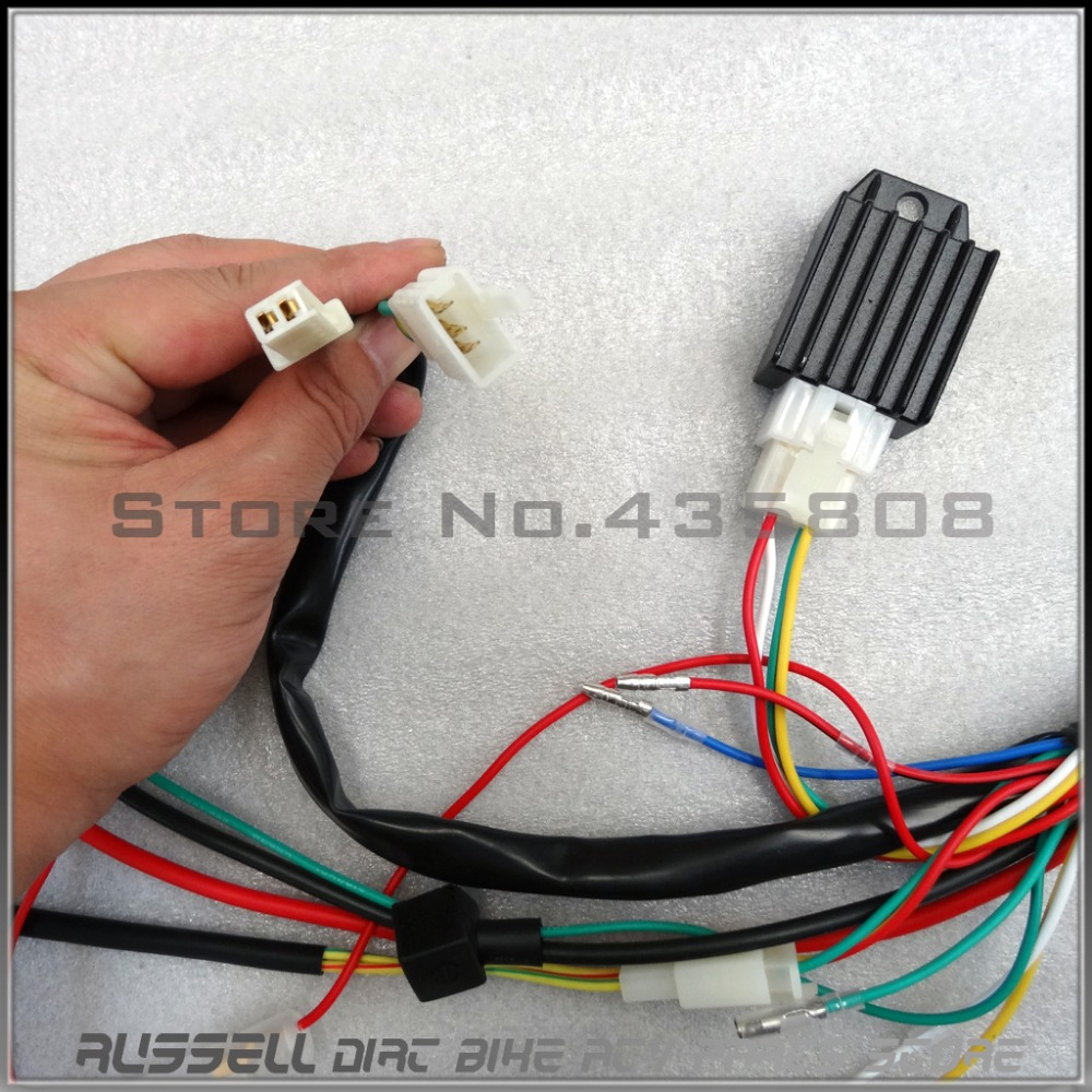Full Electrics wiring harness CDI Ignition coil Rectifier Switch 110cc 125cc ATV Quad Bike Buggy gokart full electrics wiring harness cdi ignition coil rectifier switch 200cc chinese atv wiring harness at reclaimingppi.co