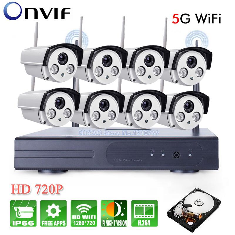 8CH IR HD Home Security Wifi Wireless IP Camera System 720P CCTV Outdoor Wifi Cameras Video NVR Surveillance CCTV KIT 3TB HDD plug and play 8ch wireless nvr h 264 video surveillance kit 720p hd outdoor vandal proof ir dome wifi cctv camera system 2tb hdd