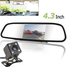 """Ventas calientes 480 X 272 4.3 """" TFT LCD 2 de entrada de vídeo espejo retrovisor del coche monitores con visión nocturna que invierte la cámara de copia de seguridad"""