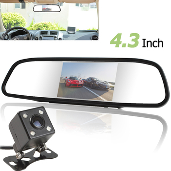 цена на Univeral 4.3 Inch TFT LCD Auto Car Rear View Mirror Monitor Parking +  Car Rearview Reverse Camera Night Vision 170 Wide Angle