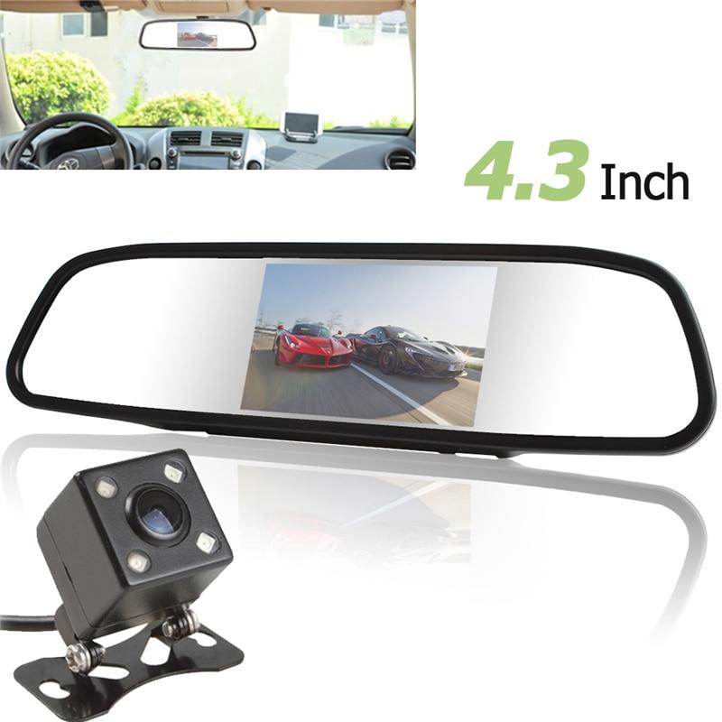 Universal 4,3 pulgadas TFT LCD Auto coche espejo retrovisor Monitor de aparcamiento + coche Rearview inversa cámara de visión nocturna 170 gran Angular