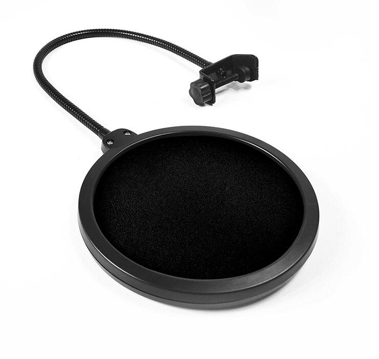 100 pcs New Microphone Pop Filter Double Mesh Screen Windscreen Studio Equipment With Flexible Gooseneck Holder