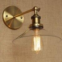 Estilo Loft Industrial Luminárias de Parede de Vidro Da Arte Do Ferro de Ouro Antigo Do Vintage Lâmpada de Cabeceira Lâmpada de Parede Edison Arandela Lampara Pared