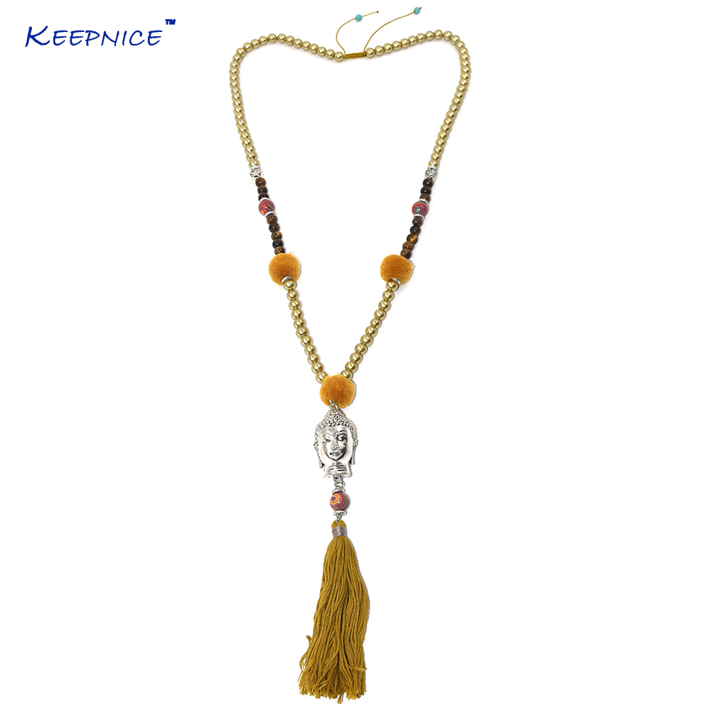 Handmade vintage rosary Glass beads chains long tassel necklace Buddha pendent necklace Tibetan 3D Buddha Buddhism necklace