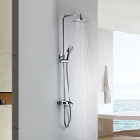 Wall Mounted Chrome Rainfall Brass Bathroom Shower Set Shower Column Bath Shower Set with ABS Handheld Square Shower Head