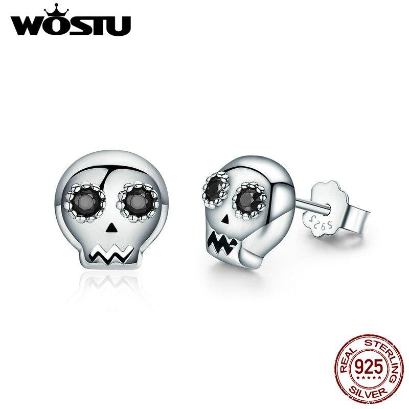WOSTU 2018 Hot Sale 100% 925 Sterling Silver Halloween Skeleton Skull Stud Earring For Women Girl Jewelry Gift CQE064