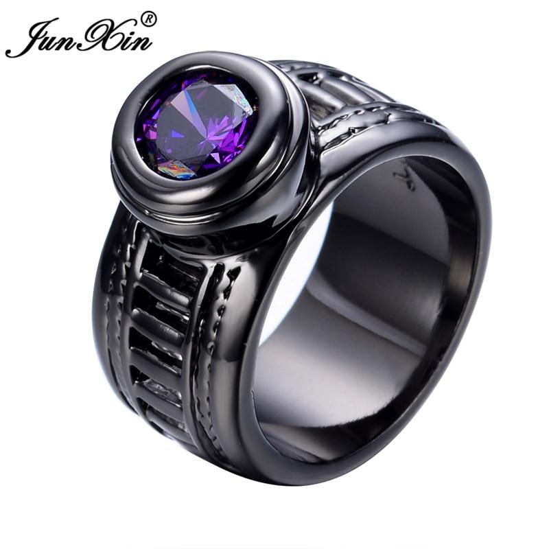 junxin new african fashion purple men women ring black gold filled crystal jewelry vintage wedding rings - African Wedding Rings
