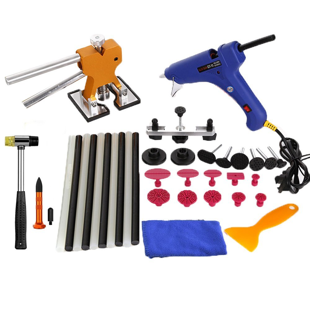 WHDZ 35pcs PDR Tools Car Dent Remover Kit Dent Lifter Paintless Dent Hail Glue PDR Tool Kit PDR Pro Tabs Tap Down Bridge Puller whdz paintless dent repair tool pdr kit dent lifter glue gun line board slide hammer dent puller glue tabs suction cup pdr tool