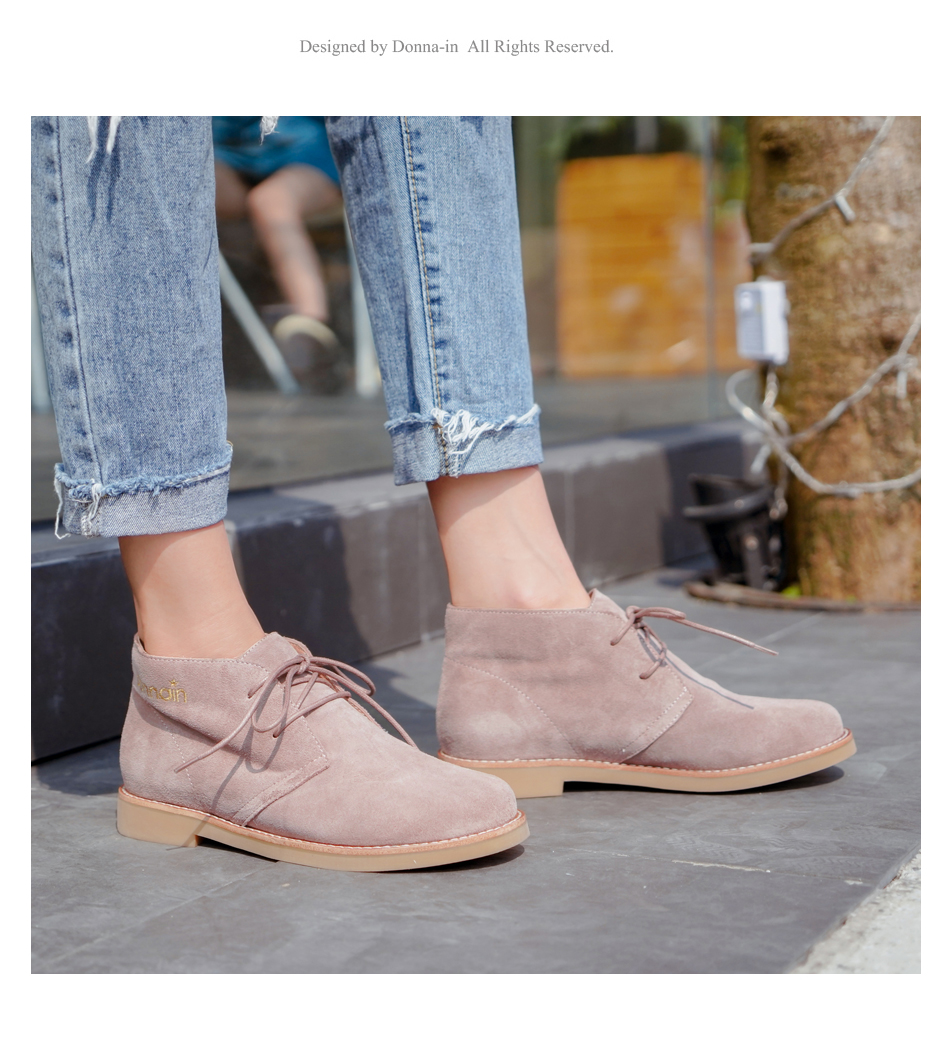 Donna-in Ankle Boots for Women Martin Boots Genuine Leather Shoes Flat Casual Booties Woman 2019 Spring Lace up Plus Size Ladies (5)
