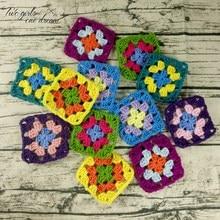 DIY Crochet Doilies Multicolor Coasters Square Table Mats Decoration Handmade Crochet Cup Pad 9cm Wool Clothes Patch 50pcs/lot
