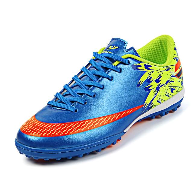 Os meninos Dos Homens Crianças Futsal Sapatos de Futebol Turf TF Chuteiras  de Futebol Tênis Esportes 20a72c4dd87ae
