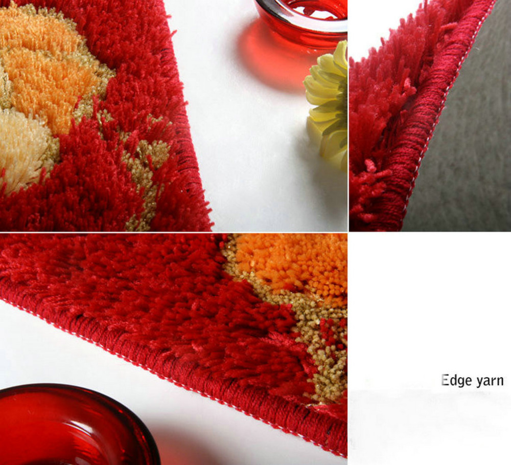 NiceRug Épaississement Salle De Bains antidérapant Tapis Absorbants Rouge Fleurs Imprimer Intérieur Carpet Tapis de Sol Rectangle Cuisine Tapis Tapp - 4