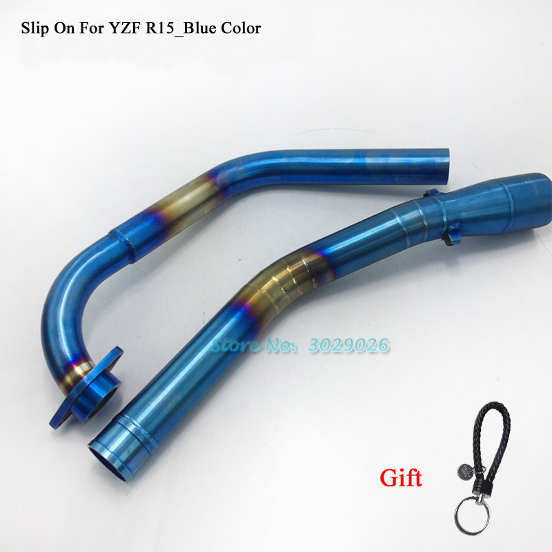 YZFR15 Slip On For Yamaha YZF R15 Motorcycle Exhaust Muffler Pipe Front Middle Link Pipe Connector Blue Chrome Fit 51mm Escape