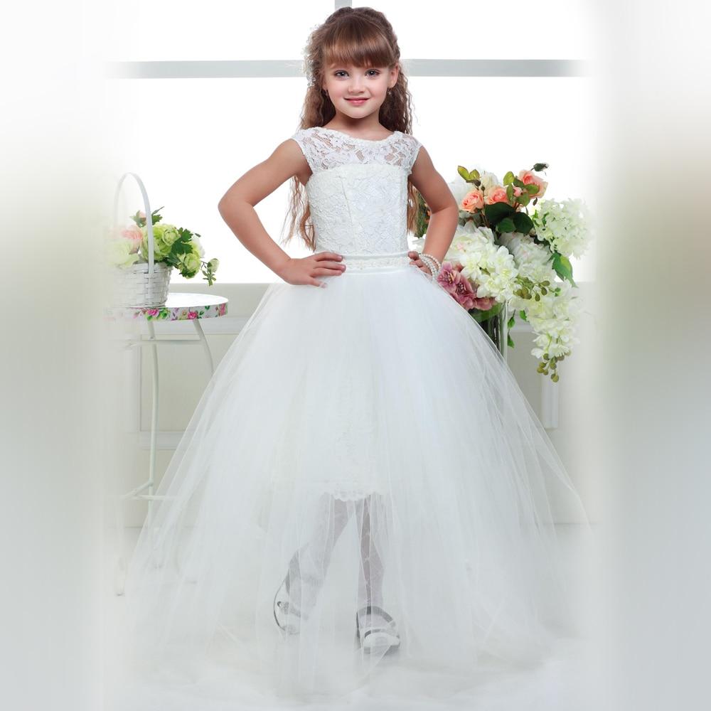 White Girls Pageant Dresses Bow Sash Sleeveless Removable Skirt O-neck Lace Flower Girl Dress Kids Evening Gowns Vestido Daminha