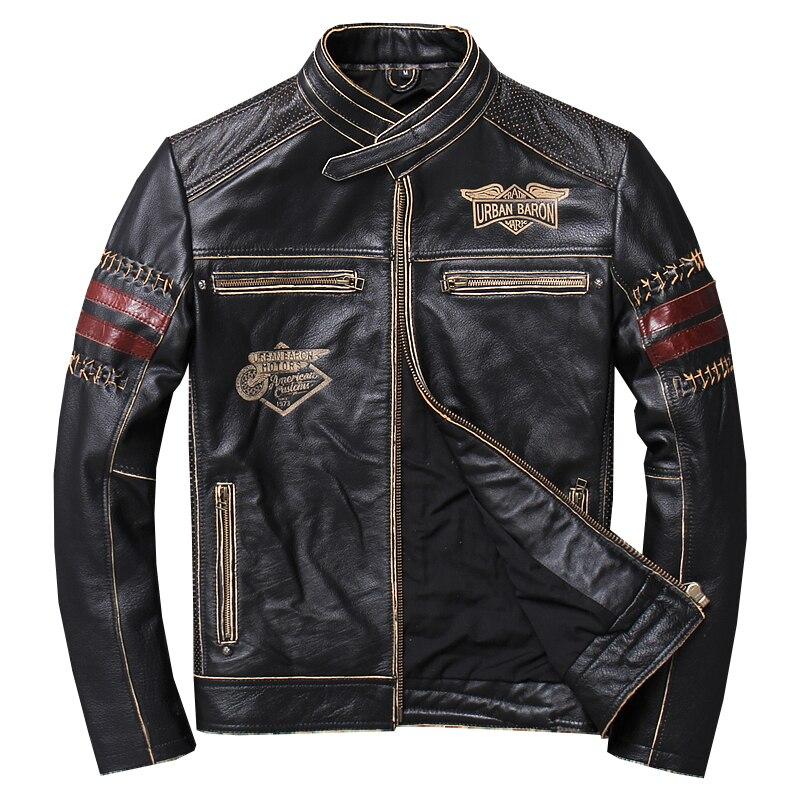 2019 Vintage noir hommes Slim Fit moto en cuir veste grande taille XXXL véritable peau de vache printemps naturel Biker manteau livraison gratuite
