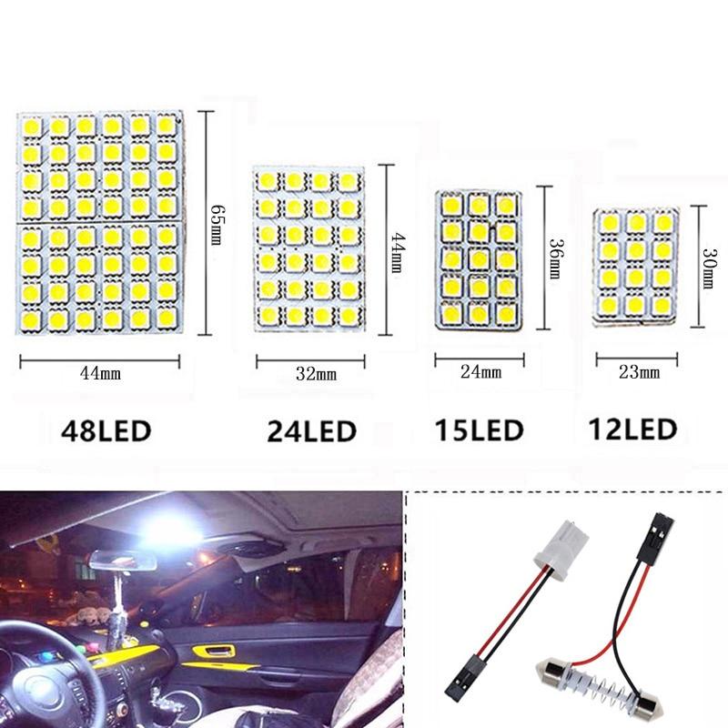 Светодиодный светильник T10 Festoon 5050 48/24/15/12 SMD, белый/теплый белый/холодный белый BA9S 12V, лампа для чтения купольной лампы багажника