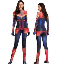 Capitão Marvel Superhero Traje Cosplay Adulto Ms Marvel Carol Danvers Jumpsuit Bodysuit Trajes de festa do Dia Das Bruxas(China)