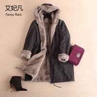 Women Real Mink Fur Winter Parkas Hooded Natural Fur Long Jacket Warm Genuine Full Pelt Mink