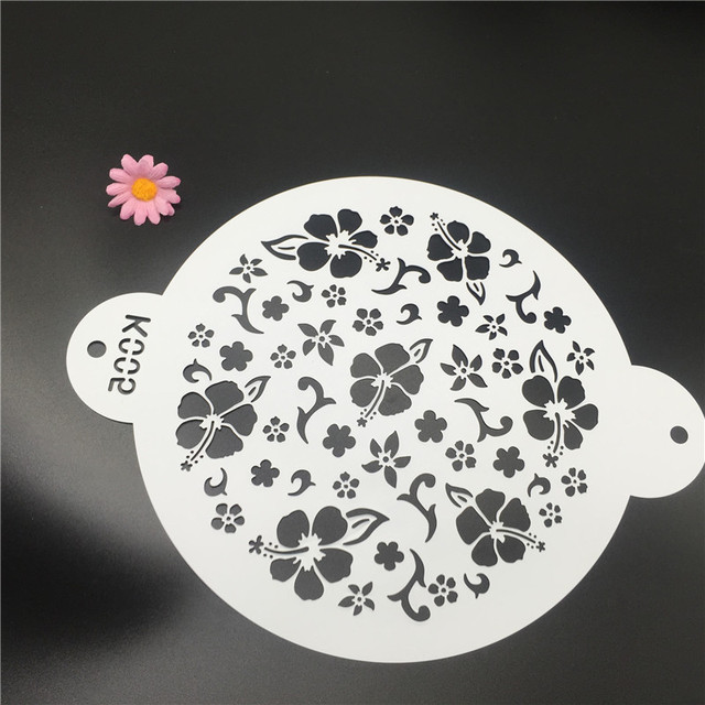 1Pcs Floral Cake DIY Decorating Stencil Fondant Pattern Printing Spray Template Spray Embossing Mold 25cm K005