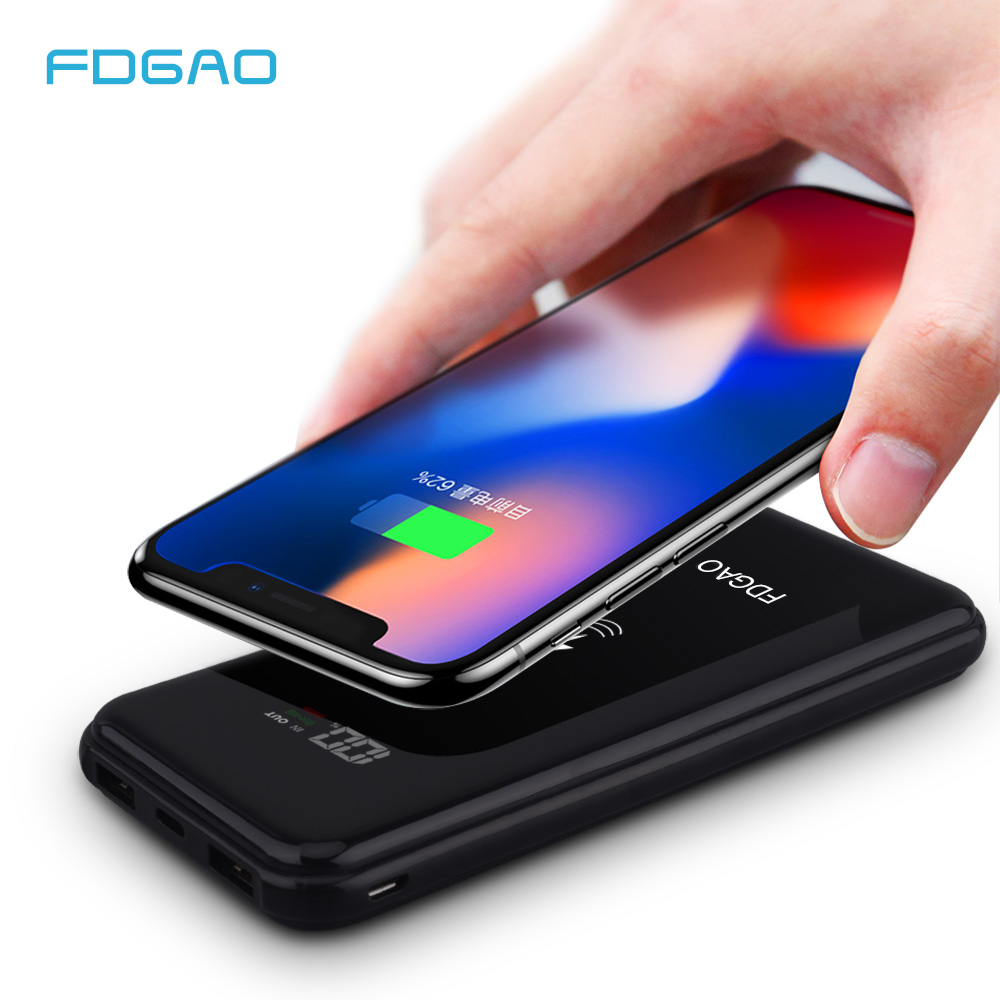 fc0c7107ca3b06 FDGAO 20000mAh QI Wireless Charger Power Bank for iPhone X 8 Plus Samsung  S9 S8 Wireless Charging Pad Powerbank External Battery