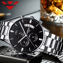 NIBOSI Mens Black Watches Dial Metal Band Luxury Famous Top Brand Men Fashion Casual Dress Military Quartz Silver Wristwatches