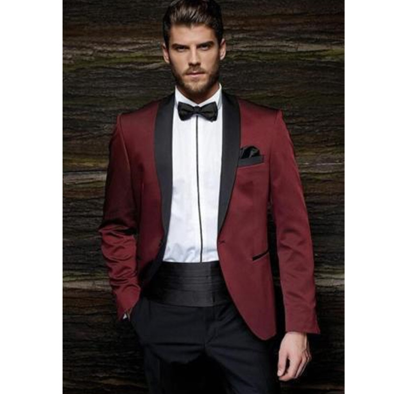 Fashion Classic Men's Suits Wine Red Lapel Single-breasted Men's Business Office Professional Suits (jacket + Pants + Belt)