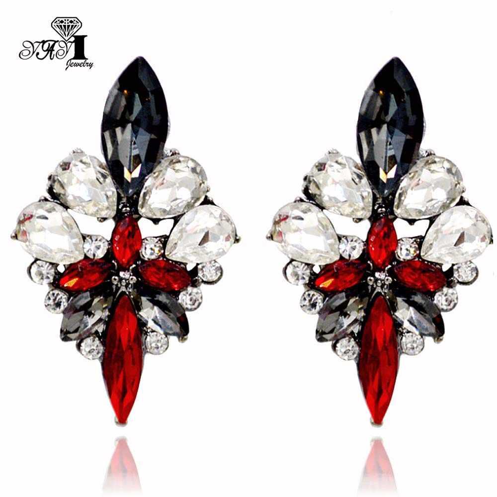 Yayi Perhiasan Baru Merah Kaca Berlian Imitasi Menjuntai Anting-Anting Kristal Wanita Kuno Warna Emas Permata Anting-Anting Hadiah 1201