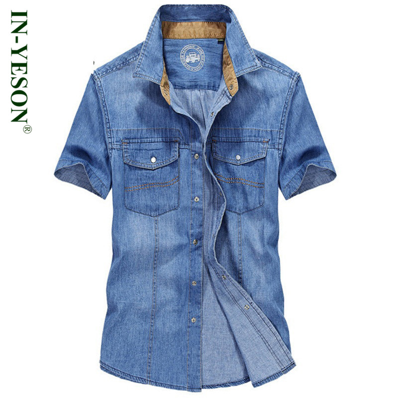 2016 Summer Fahion Style Denim Men Shirt Brand Clothing IN-YESON Casual Turn-down Collar Chemise Homme Short Sleeve Jeans Shirts