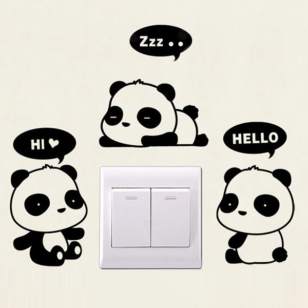 Cute Panda Switch Sticker Refrigerator Wall Stickers For Kids Rooms Art Decal Quote Lettering Nursery Vinyl