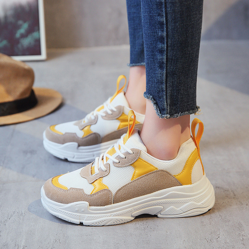 sneakers respirant confort nouvelle de jaune loisirs chaussures femme augmentation printemps. Black Bedroom Furniture Sets. Home Design Ideas