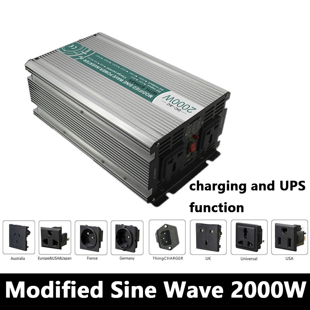 цена на Full Power 2000W Modified Sine Wave Inverter,DC 12V/24V/48V To AC110V/220V,off Grid Solar Inverter With Battery Charger And UPS