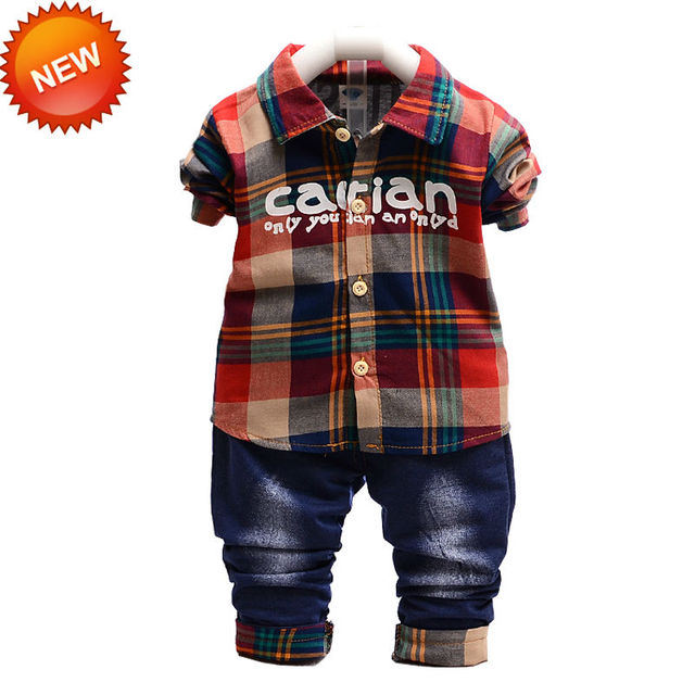 New Coming Red And Green Baby Outfit Plaid Tops + Jeans 2pcs Per Set Turn-Down Collar Fashion Style Single Breasted Full Sleeve