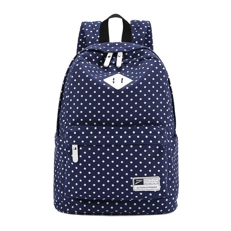 Для женщин холст школьная сумка темно-синий + горошек путешествия рюкзак сумка рюкзак